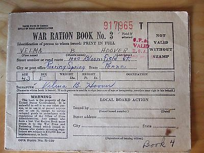 WWII RATION BOOK'S, TWO  Intact, Signed with stamp pages. WWII COLLECTIBLE. COA