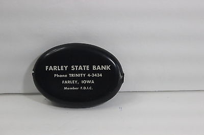 Vintage Farley State Bank Iowa Coin Holder Black Advertising Dubuque County Old