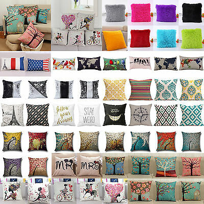 Vintage Pillow Case Cotton Linen Sofa Waist Throw Cushion Cases Cover Home Decor