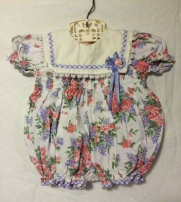 Vintage Baby Girl Easter Smocked Floral Puffy Sunsuit Romper 3-6 months
