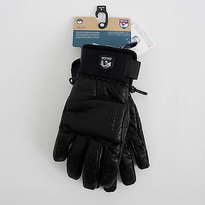 HESTRA Size 9 Touch Point Touchscreen Black Leather Ski Snowboard Gloves $120