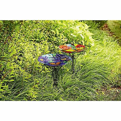 NEW Essential Garden Glass Birdbath Butterfly Red Flower With Black Metal Stand