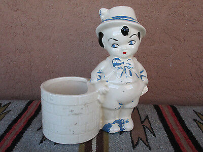 Vintage Cookson Ceramic Plant Holder Boy With Hat Garden Planter Pot Blue Beige
