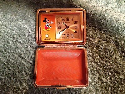 Vintage Disney Mickey Mouse Compact Traveling Alarm Clock/MINT