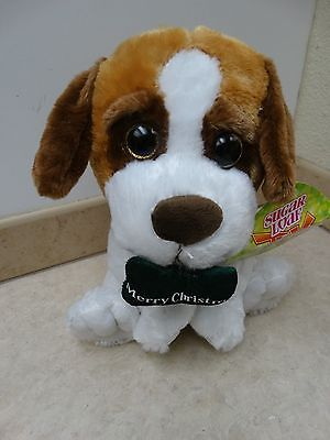 NEW Sugar Loaf Merry Christmas Dog Plush SIZE 11'' COLOR BROWN/WHITE ECO