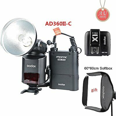 AU Godox AD360II-C TTL Camera Flash + PB960 Battery + X1T-C Transmitter +Softbox
