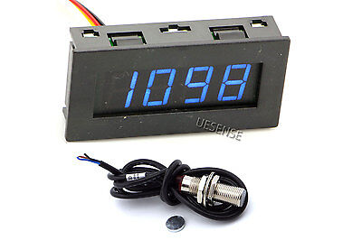 Digital Blue LED Tachometer RPM Speed Meter + Hall Proximity Switch Sensor NPN