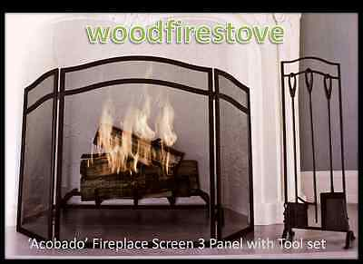 (WOODFIRESTOVE) Fireplace Screen Adjustable with Fireplace Tool Set FIRESCREEN
