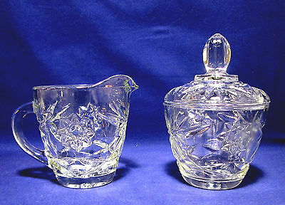 EAPC Early American Prescut Sugar Bowl and Creamer Anchor Hocking Star of David