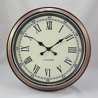 "Large 'London' Wall Clock Vintage Copper With White Face 50cm (19.75"") Diameter"