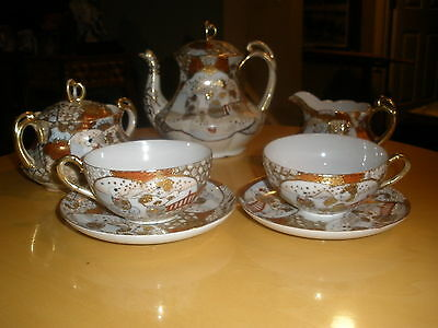 Vinage Gorgeous Hand painted Kutani Japan  Coffee Tea Set 9 pc.