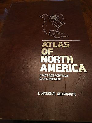 Vintage National Geographic Atlas Of North America Space Age Large Book