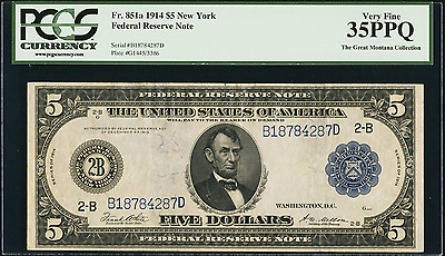 1914  $5  FEDERAL RESERVE NOTE   PCGS  Very Fine 35PPQ.