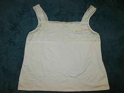 CATO woman's intimate Camisole Tank Top white lace trim Sz XL