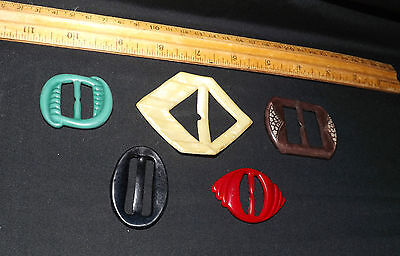 Antique Celluloid Ladies Belt Buckles. Lot of Five. Nice Variety