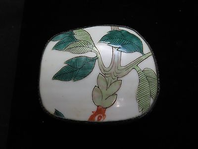 Vintage Chinese Export Painted Porcelain Silver Metal Trinket Box