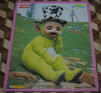 Vintage Teletubbies Green DIPSY Wooden Frame Puzzle Original Playskool 1998 12""