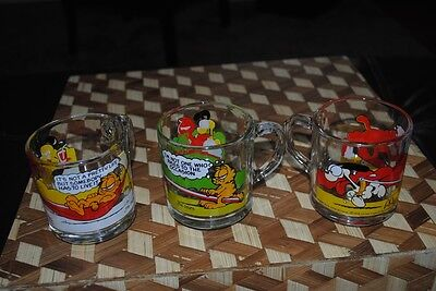 Garfield Odie Glass Mug Lot of 3 Vintage McDonalds Glasses Mugs 1978 Retro