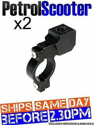 2 Wing Side Mirror Clamp Bracket Black 22mm Pit Quad Bike Scooter Motor Cycle