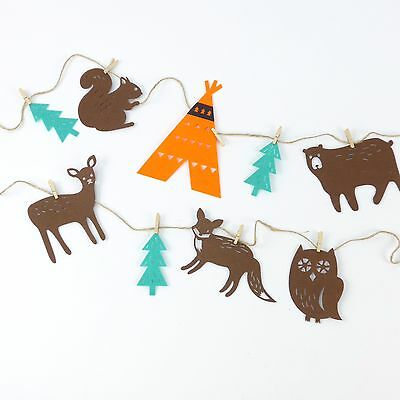 Felt Animal Forest Garland Bunting for Fall Kids Room Party Decorations Nursery