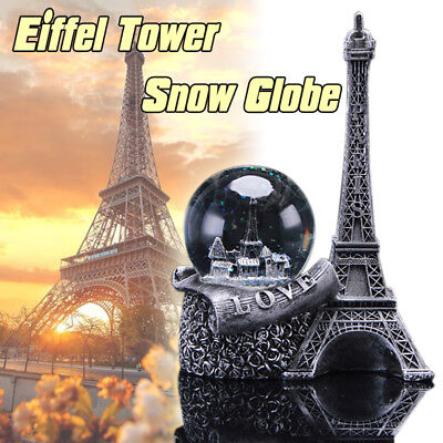 WR Paris Snow Globe France Eiffel Tower Silver Holiday Ornament Romantic Gift