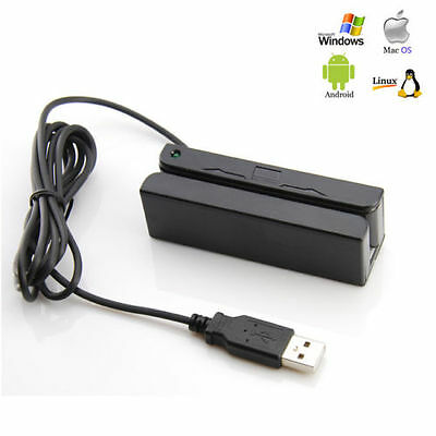 USB 3-Track Magnetic Stripe Credit Card Reader Magstripe Scanner Swipe POS MSR90