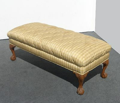 French Provincial Gold Plaid Diamond Pattern SILK Carved BENCH Bedside Stool