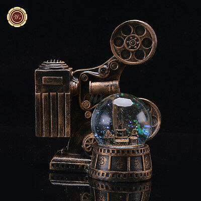 WR Lighted Snow Globe Vintage Movie Projector Kid Gift Home Decoration Glass Art