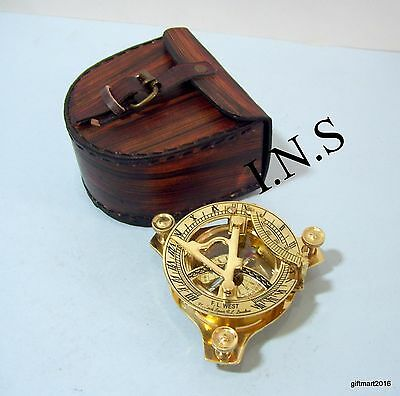 Sundial-Nautical-Brass-Pocket-Compass Best Gift With Beautifull Leather Box