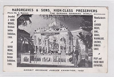 VINTAGE POSTCARD HARGREAVES & SONS HIGH CLASS PRESERVERS  MANLY QLD 1900s