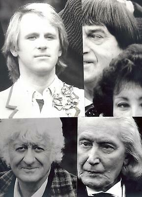 "Doctor Who ""The Five Doctors"" photocall: 4 B&W photos Hurndall/Troughton/Pertwee"