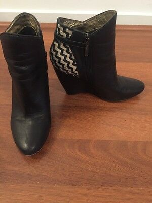 Mimco Black Leather Boots Size 40