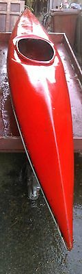 Red Top White underside (hull) fibreglass single Kayak and twin blade paddle