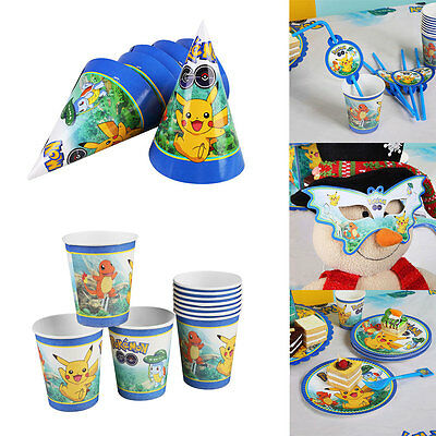 Creative Pokemon Pikachu Party Plates Knives Banners Tableware Birthday Supplies