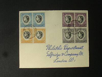 South West Africa : 1937 Coronation : 3d, 4d, 6d, 1/- Pairs on Cover