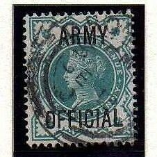 1900 Fine Used QV SGO42 1/2d Blue Green ARMY OFFICIAL Lovely