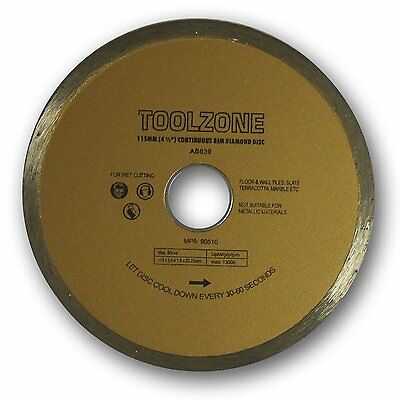 115mm Continuous Rim Diamond Wet Tile Cutting Disc Toolzone AB039