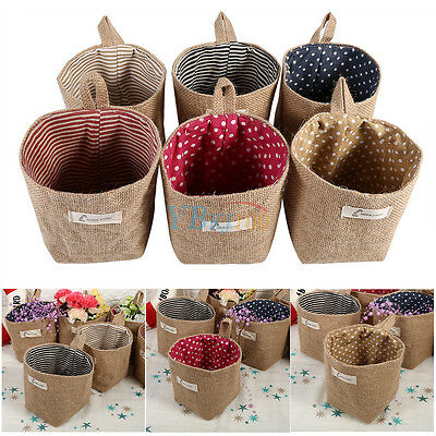 Cotton Linen Clothes Bag Storage Organizer Foldable Basket Bin Home Decor Gadget