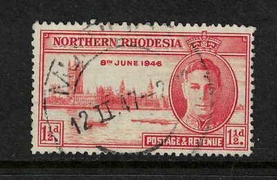 Northern Rhodesia 1946 Victory 1/2d Red Orange perforation 13.5 Used Cat £12.00