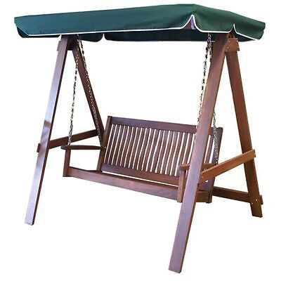 2 Two Seater Seat Outdoor Swing Bench with Green Canopy