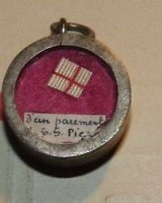 Vintage Small Very Rare Pius X Second Class Relic Actual Piece of Cassock + Cert