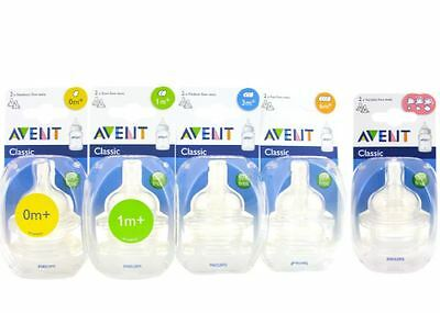 Philips Avent Teats Airflex Classic 2 Pack 0-6 mnths+ BPA free All Sizes & Flow