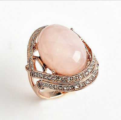 ITALINA Genuine Rose Gold Rose Quartz Engagement Eternity Ring size 8.5