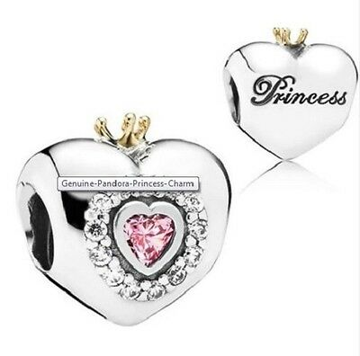 Authentic Pandora Sterling Silver Heart Charm Princess Tiara S925 Ale S925 CZ