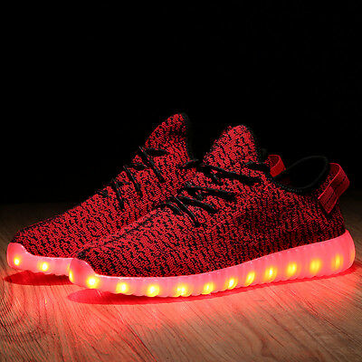 Unisex USB Charger Men Womens LED Lights Lace Up Shoes Sportswear Casual Sneaker