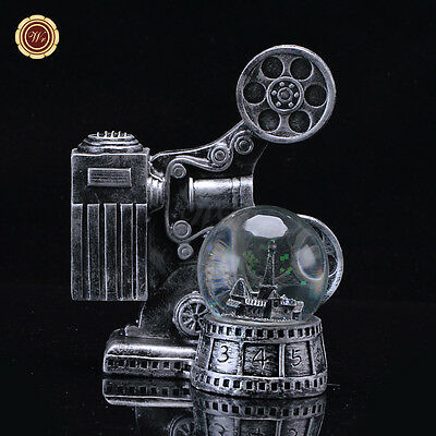 WR Antique Movie Projector  Snow Globe Light-Up Water Globe Dome Gift Decoration