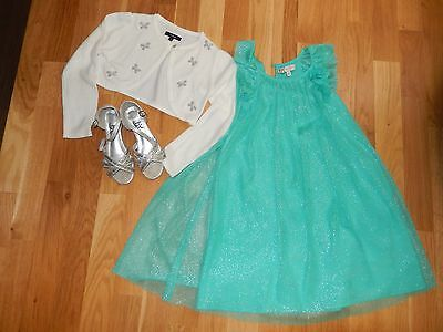 Cute girls special occasion dress size 6-7 years with bolero and silver shoes