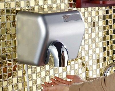 New Silvery Mute Plastic Wall Mounted Automatic Induction Hand Dryer Machine #