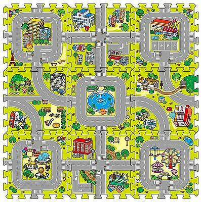 9 Piece Eva Interlocking Soft Foam Kids Baby Car City Plan Play Mat Set