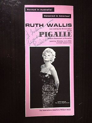 Ruth Wallis - Late Great Cabaret Entertainer - Signed Theatre Programme